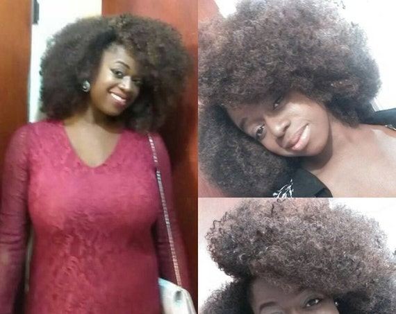 Essence Wigs Amazing Natural Hair VA VA Voom kinky Curly Afro Brown Highlights Wig Unit 4b 4c 4a