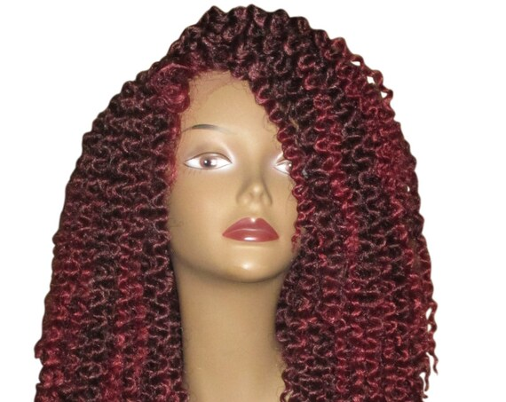 Essence Wigs Kinky Wave II Twist Out (Long) Crochet Lacefront Wig Unit Fiery Red Wig Curly Hair