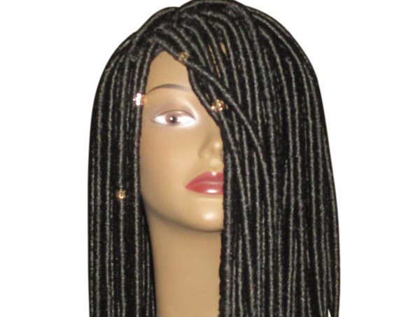 "Essence Wigs ""Loctastic"" Dreadlocks Loc Locs Crochet Wig Black Comes w/ Gold Crystal Beads"