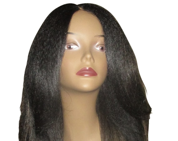 "Essence Wigs ""Rachel"" Kinky Straight Italian Yaki Lacefront Wig Fawcett Layered Hair Black Dirty Blonde Highlights Lace Wig"
