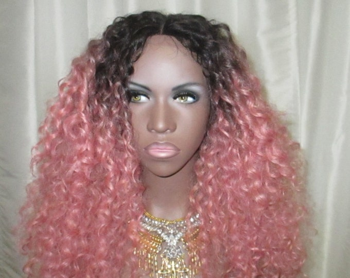 """Essence Wigs """"Ain't Nothing but A Pink Thang"""" LONG LENGTH Lacefront Wig Natural Hair Kinky Curly Beach Waves Wig Pink Ombre Lace Wig"""