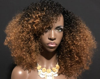 Ombre Blonde 'Lotta Body' Natural BIG Hair Kinky Curly Wig by Essence Wigs