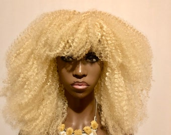 "Exclusive Platinum Blonde Textured Afro Wig ""Katwe"" Kinky Hair Unit Full Cap By Essence Wigs"