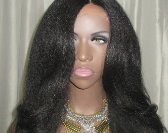 "Essence Wigs ""Rachel"" Black Kinky Straight Italian Yaki Lacefront Wig Fawcett Layered Hair Black Highlights Lace Wig"