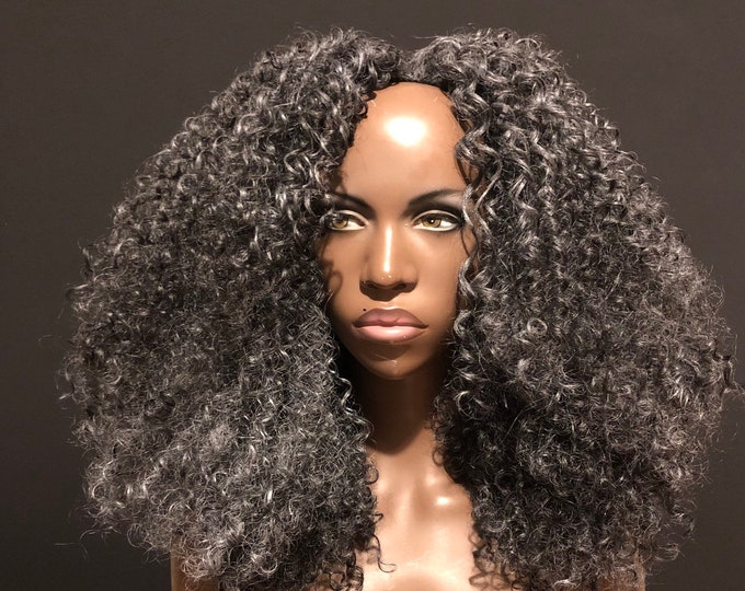 Essence Wigs Gray Wig 'Voluminous Curls' Kinky Curly Natural Hair