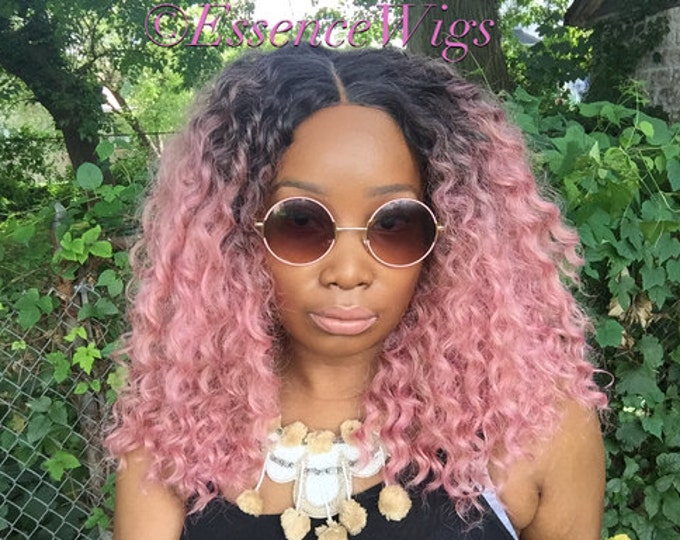 """Essence Wigs """"Ain't Nothing but A Pink Thang"""" Lacefront Wig Natural Hair Kinky Curly Beach Waves Wig Pink Ombre Lace Wig"""