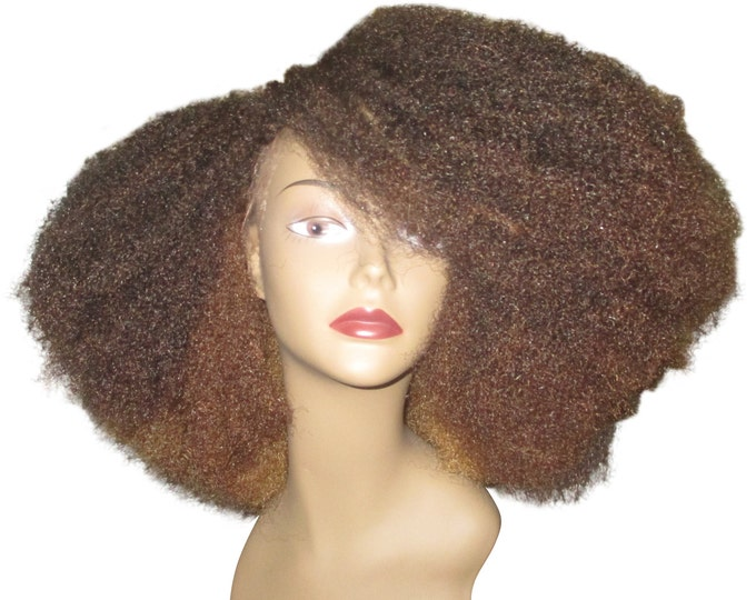 Essence Wigs Gorgeous Caramel Honey Brown Brulee Lacefront Wig Layered Bohemian Vibe Afro Wig Kink Blow Out Hair Lace Wig Unit Full Cap