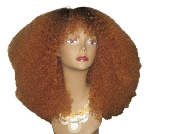 Essence Wigs (Kinkier) 100% Indian Remy Human Hair AFRO Honey Blonde Burst Ombre Wig Natural Hair Curly Afro Wig Unit