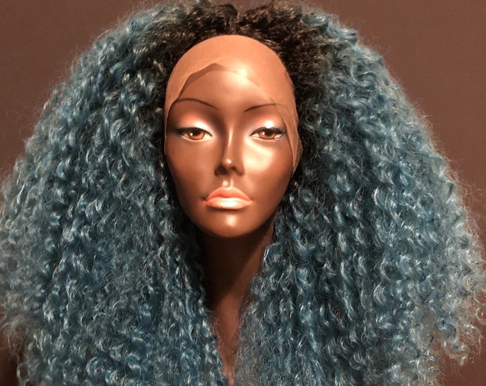 Essence Wigs 'Deep Blue Fantasy' Kinky Curly Lace Front Natural Hair Wig