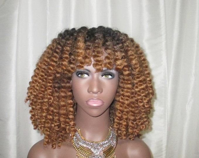 "Essence Wigs ''Glam Kinks"" Crochet Twist Out Wig Full Cap Crochet Braid Ombre Wig Honey Blonde or Black"