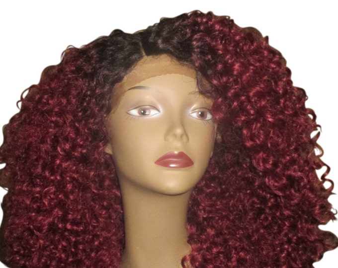 Essence Wigs NEW COLOR Bold Burgundy Red The 'Diana Ross' Lacefront Wig Hair Full Cap Lace Wig Unit Curly Special parting 3b 3c