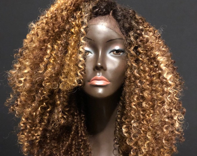 Essence Wigs Strawberry Blonde Highlights Kinky Curly Frizz Lacefront wig Natural Hair Lace Wig Premium Remy Sustainable Fibers