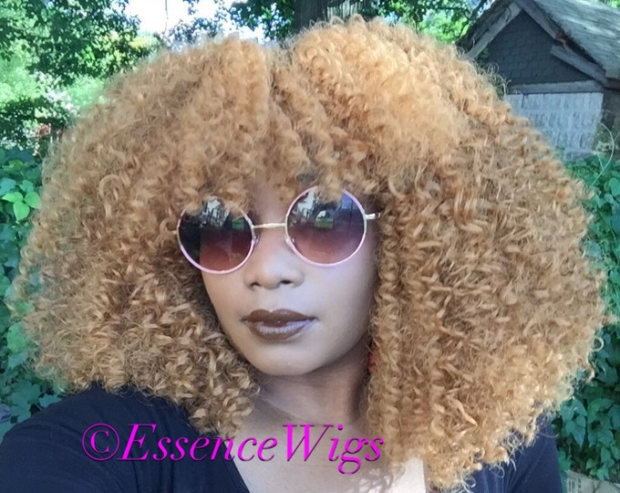Essence Wigs Honey Blonde Wig 'Stacy' Lace front Wig Natural Human Hair Blend Kinky Curly Wig Lace Wig Unit 4b 4c 4a