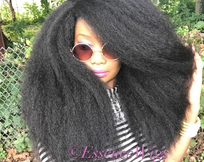 Essence Wigs NEW 'EMPRESS' Thick Kinky Straight Full Cap Crochet Braid  Wig Unit 4A Black Wig BIG Hair