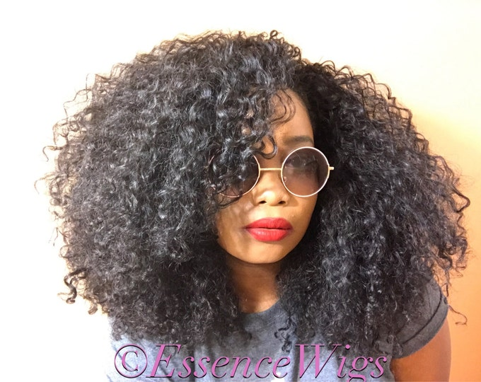Essence Wigs 'Lotta Body' BANGS Natural BIG Hair Kinky Curly Wig Black Premium Sustainable Hair Unit Wig 3b 3a