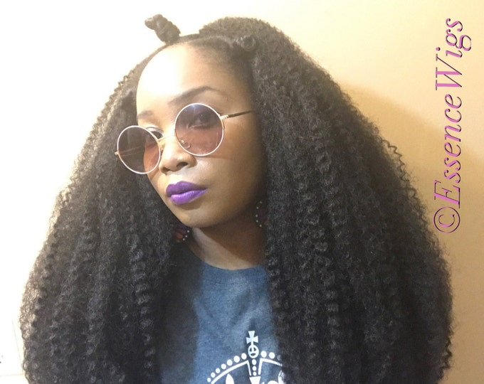 Essence Wigs NEW The 'Majestic Bohemian' Crochet Wig Unit Textured Premium Fibers Super Long Super Thick Black Wig Bohemian
