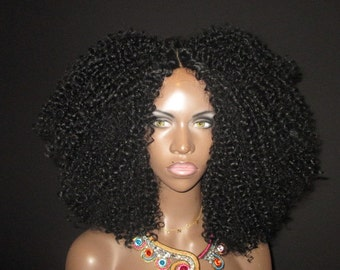 Essence Wigs Black Lace front Wig Brazilian Remy Human Hair Blend 'Stacy' Curly Kinky Natural Hair Wig Lace Wig Unit 4b 4c 4a