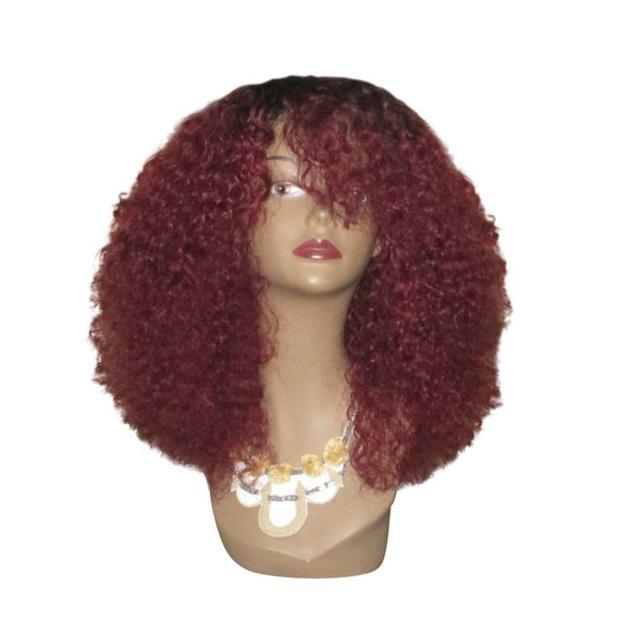Essence Wigs 100% Indian Remy Human Hair 'Cherry Spice' Wig Natural Hair Rihanna Red Wig Kinky Curly Wig Unit