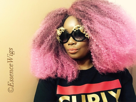 """Essence Wigs """"Pink Me Up"""" Pink Afro Wig BIG Crochet Braid Wig Full Cap Natural Hair Type 4 Afro Punk Bold Colors Collection"""