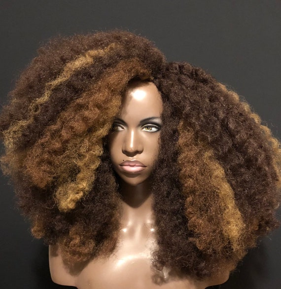 """Essence Wigs """"Golden Trio"""" Three Tone Kinky Wave Blowout Natural Hair Crochet Wig"""