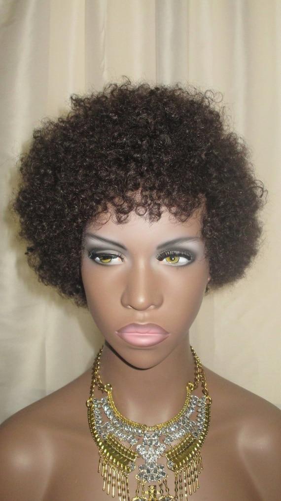 "Essence Wigs ""Baby Bee Curls"" 100% Remy Human Hair Black Wig Kinky Afro Wig Unit 4b 4a TWA"