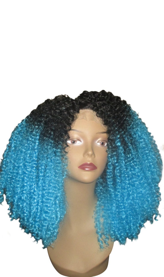Essence Wigs Blue Ombre Kinky Curly Natural Hair Lacefront Wig Premium Lace Wig