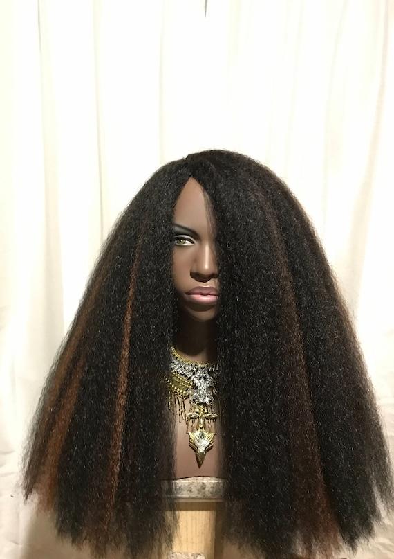 Essence Wigs NEW 'EMPRESS' Thick Kinky Straight Full Cap Crochet Braid  Wig Unit 4A Black Brown Highlights Wig BIG Hair Long Natural hair