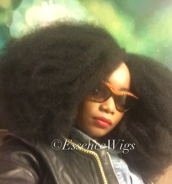 Essence Wigs Gorgeous Afro 4C BIG Afro Wig Kink Bohemian Vibe Fro Lacefront Wig Unit Full Cap