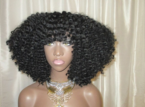 Essence Wigs 'TWIST OUT MANIA'  Bangs Natural Hair Crochet Wig Full Voluminous Kinky Curly Textured Hair Wig 4a 4B