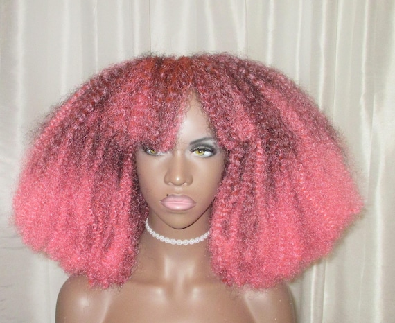 """Essence Wigs """"Pink Me Up"""" Pink Afro Bangs Wig BIG Crochet Braid Wig Full Cap Natural Hair Type 4 Afro Punk Bold Colors Collection"""