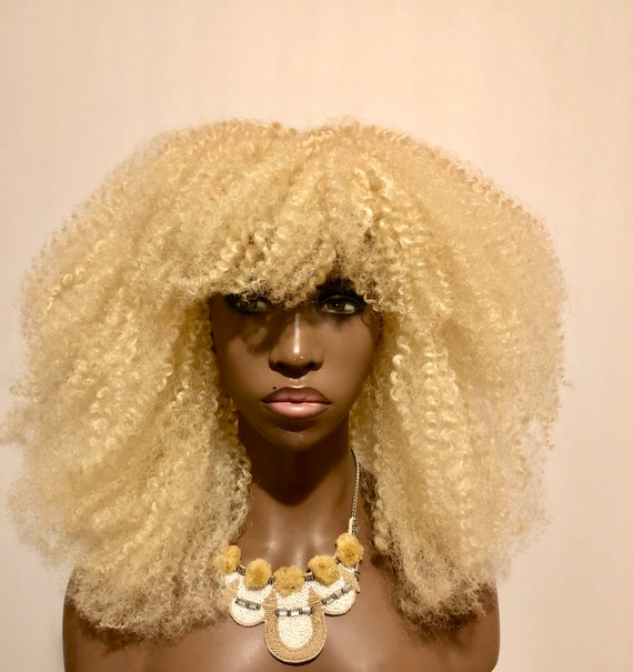 "Platinum Blonde Textured Afro Wig ""Katwe"" Kinky Hair Unit Full Cap By Essence Wigs"