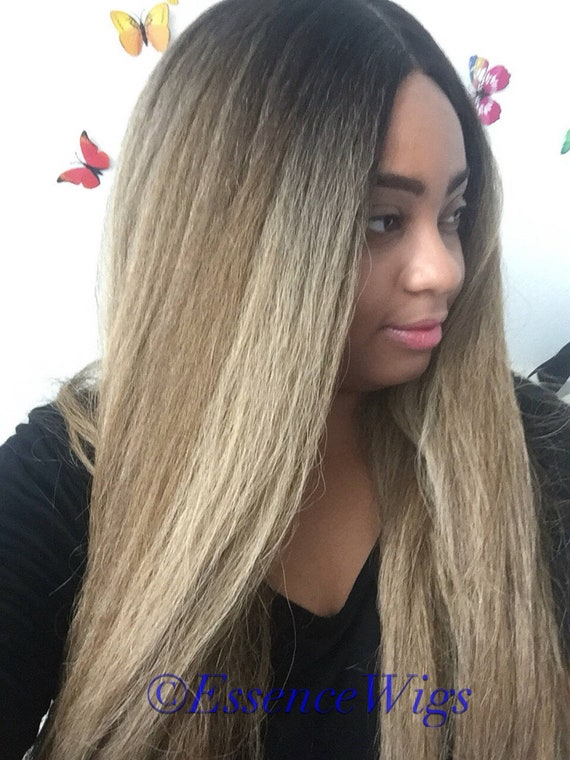 "Essence Wigs ""Blonde Bombshell"" Kinky Straight Blonde Wig Unit Yaki Texture"
