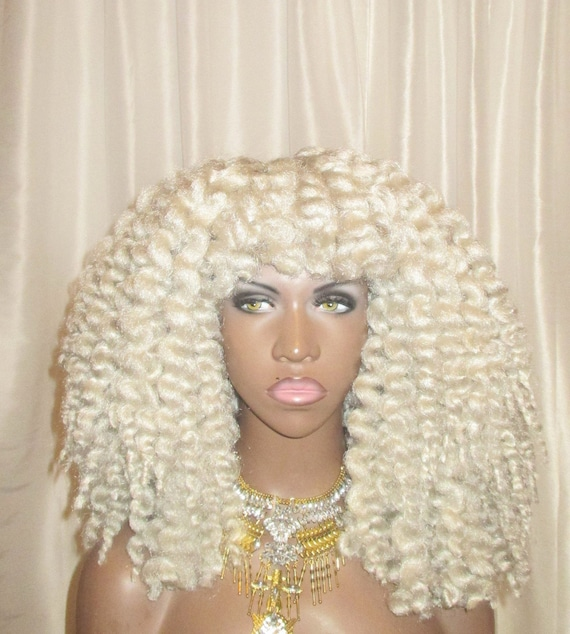 "White Gray Kinky Curly ''Glam Kinks"" Crochet Twist Out Wig"