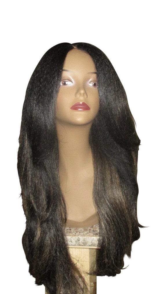 "Essence Wigs ""Rachel"" Kinky Straight Italian Yaki Lacefront Wig Fawcett Layered Hair Black Dirty Blonde Highlights Lace Wig"