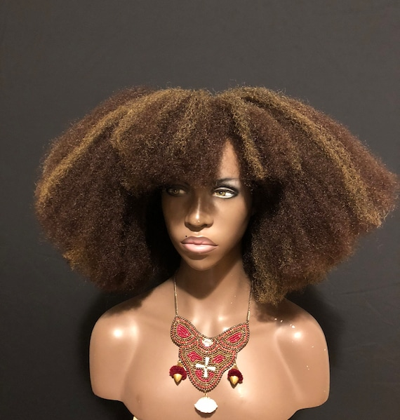 Afro Wig 'Nandi' Wig Brown Highlights Afro Bangs Unit by Essence