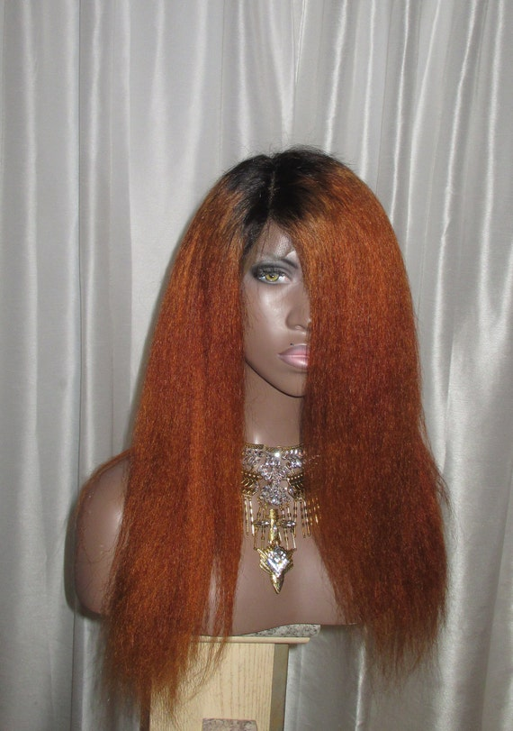 Custom Color Ginger Copper 100% Human Hair Kinky Straight Wig Italian Yaki 360 Lace Wig