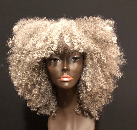 "Essence Wigs Pretty Gray ""Lola""  Kinky Curly Wig Unit"
