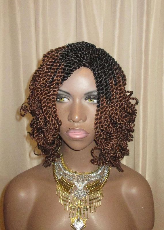 Essence Wigs Curly Mini Twists Crochet Wig Ombre Brown Blonde Natural Hair Two Strand Twist Unit