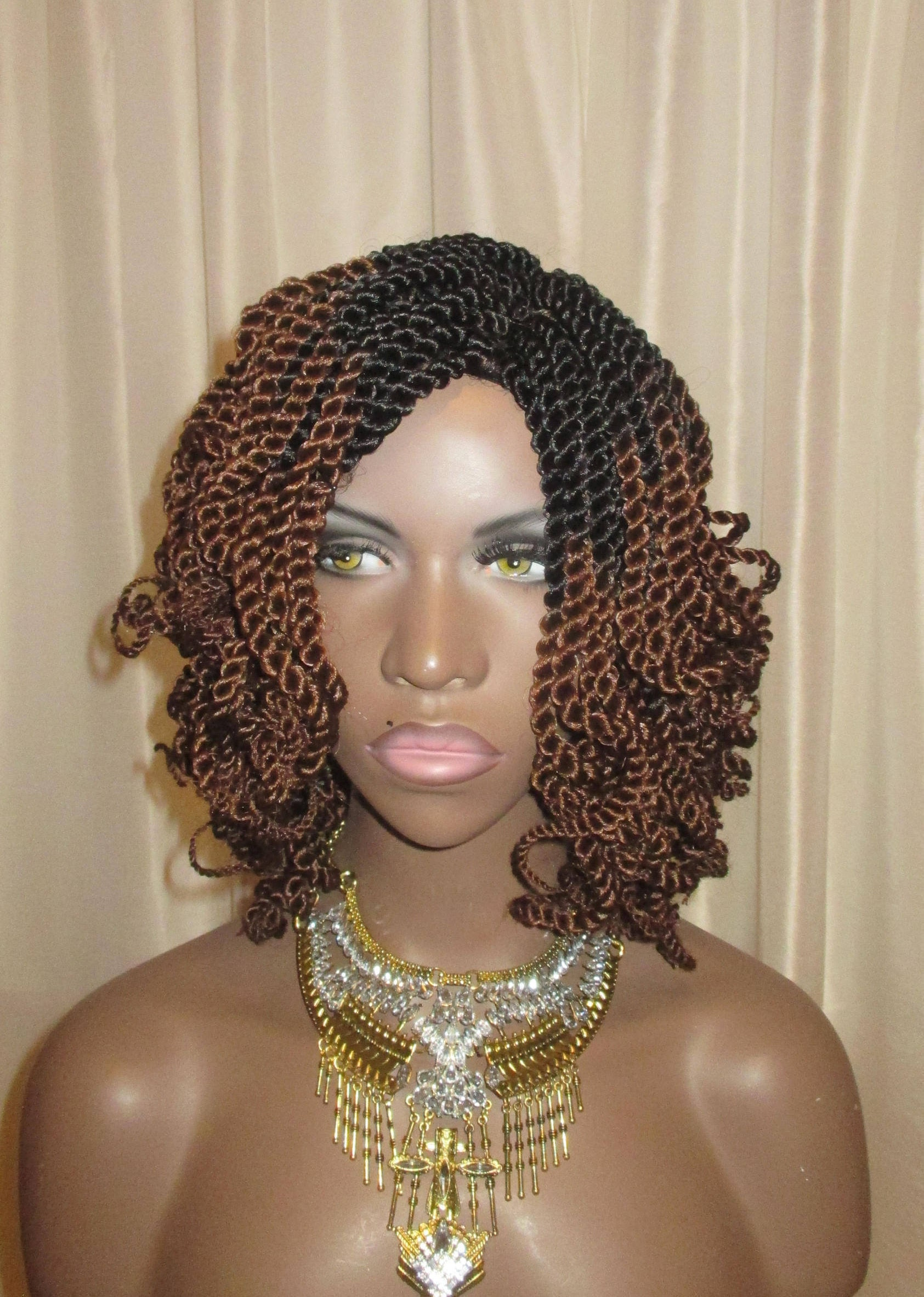 Essence Wigs Curly Mini Twists Crochet Wig Ombre Brown Blonde