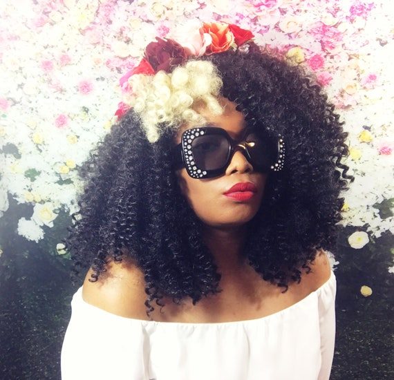 Essence Wigs 'Two Tone Craze' Blonde Streak Black Curly Kinks Crochet Wig Natural Hair