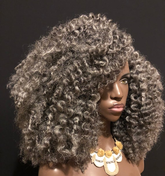 Salt Pepper Gray Twist Out Full Cap Crochet Wig By Essence Wigs