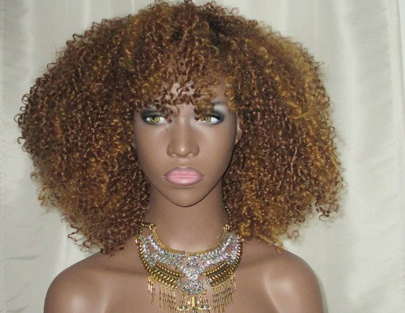 Essence Wigs Honey Blonde Burst Afro Natural Hair VA VA Voom Afro kinky Curly Wig Unit 4b 4c 4a