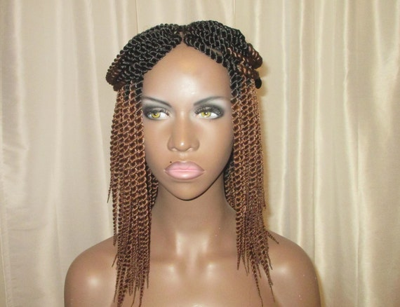 Essence Wigs Mini Twists Crochet Wig Ombre Brown-Blond Black Natural Hair Two Strand Twist Unit