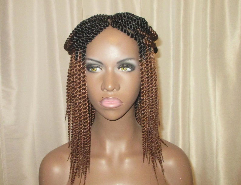 Essence Wigs Mini Twists Crochet Wig Ombre Brown Blond Black Etsy