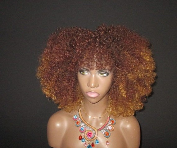 Essence Wigs Honey Blonde Burst Afro Natural Hair VA VA Voom Afro kinky Curly Wig Unit 4b 4c 4a