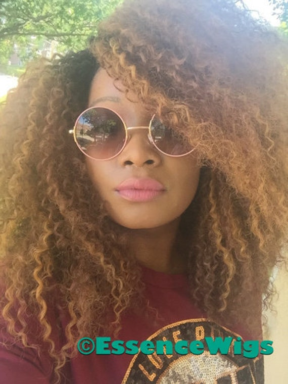 Essence Wigs Kinky Straw Curl Curly Natural Hair Wig Honey Blonde Premium Remy Sustainable Fibers Unit Crochet