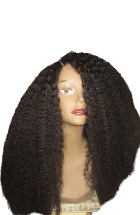 Essence Wigs The 'Cree' Lacefront Wig 100% Brazilian Remy Human Hair Black Natural Black Wig Afro Kinky Curly Full Lace Wig Unit
