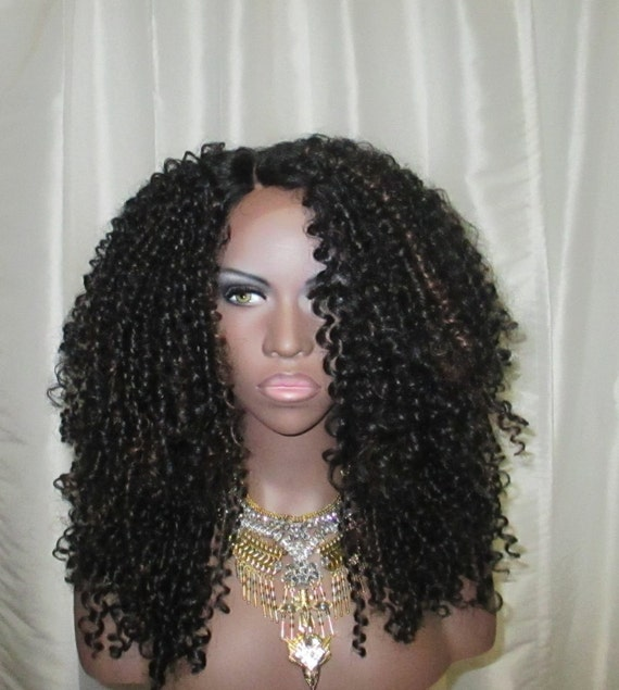 Essence Wigs The 'JANET JACKSON' BLACK Highlights Lacefront wig Natural Hair Lace Wig Premium Remy Sustainable Fibers Kinky Straw Curl
