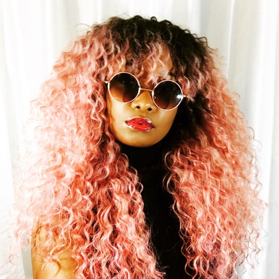 """New Essence Wigs BANGS """"Ain't Nothing but A Pink Thang"""" LONG Lace front Wig Natural Hair Kinky Curly Beach Waves Wig Pink Ombre"""