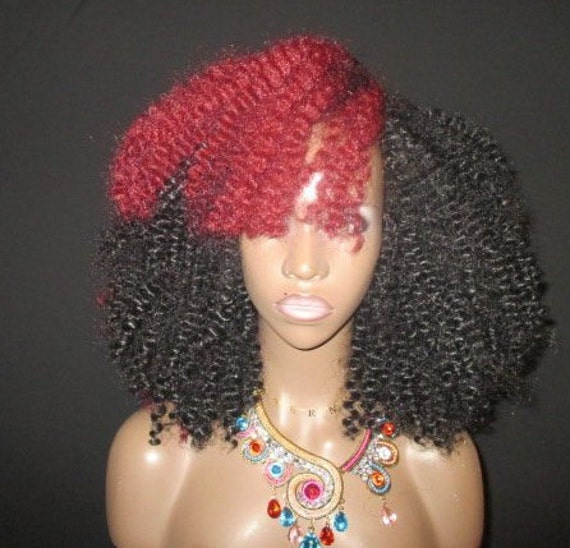 Essence Wigs Two Tone Red Burst Black Curly Kinks Crochet Wig Natural Hair